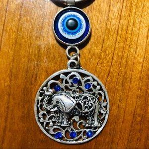 Boho Evil Eye African Elephant Keychain